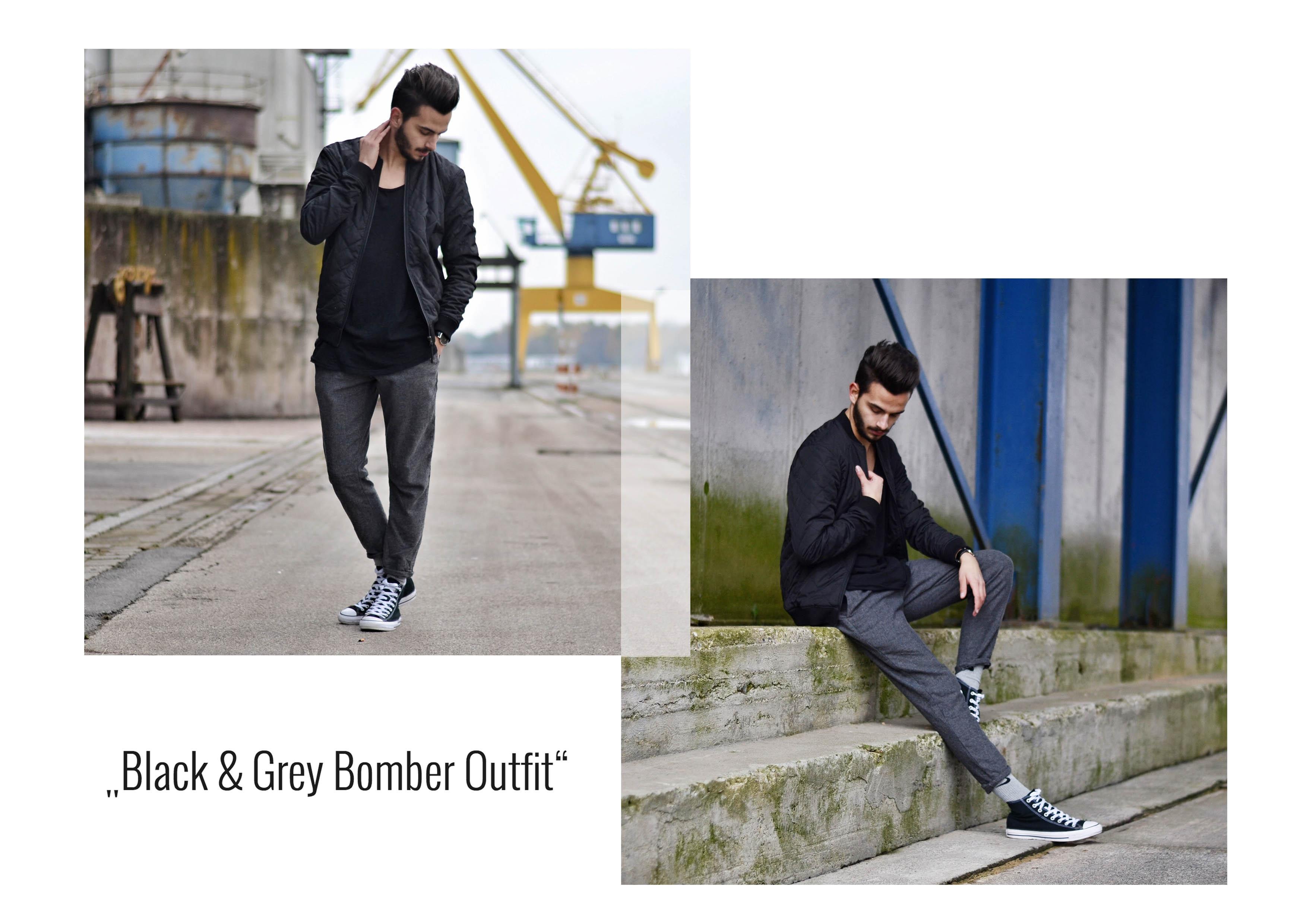 Gabba Denim Fashion Streetstyle Streetshoot Bomberjacke Black Denim Gekürzte Hosen
