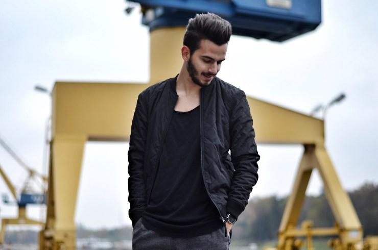 Gabba Denim Fashion Streetstyle Streetshoot Bomberjacke Black Denim