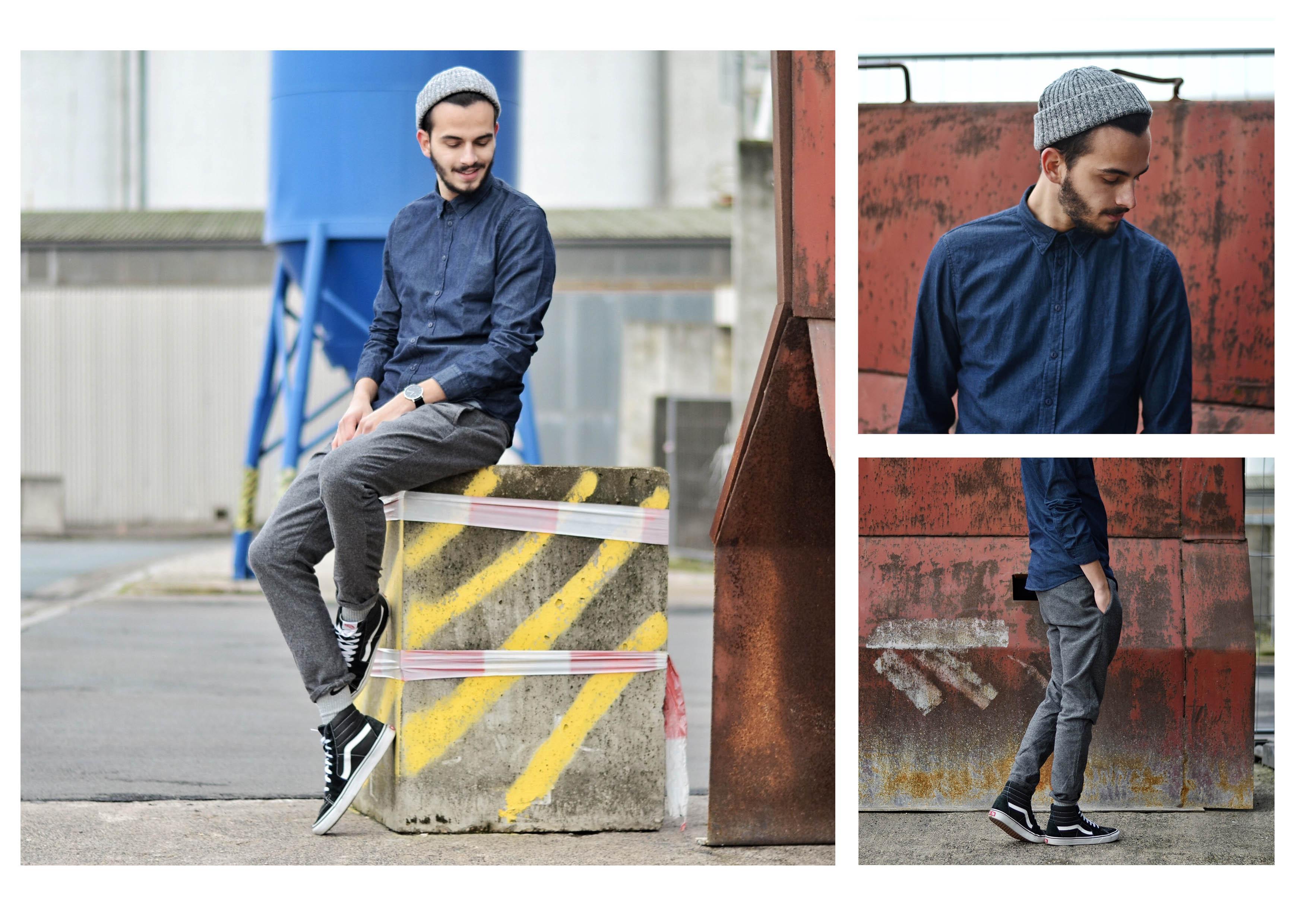 Gabba Denim Fashion Streetstyle Streetshoot Hemd Denim Gekürzte Hosen