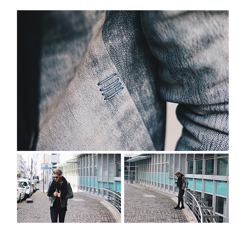 Gabba Denim Fashion Streetstyle Streetshoot Lederjacke Black Denim